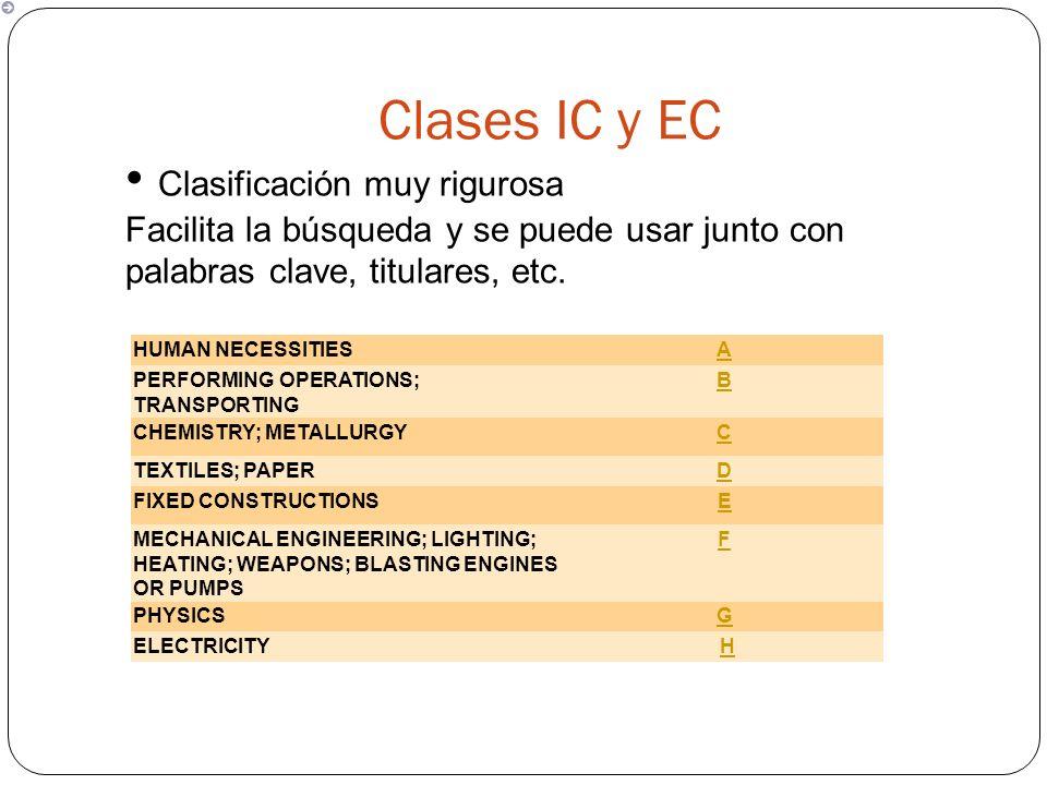Clases IC y EC Clasificación muy rigurosa Facilita la búsqueda y se puede usar junto con palabras clave, titulares, etc.