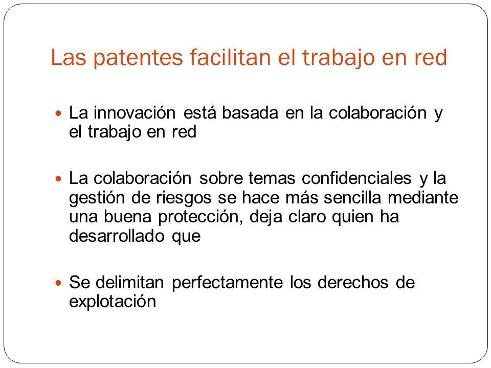 Las patentes facilitan el trabajo en red La innovación está basada en la colaboración y el trabajo en red La colaboración sobre temas confidenciales y la gestión de riesgos se hace más sencilla mediante una buena protección, deja claro quien ha desarrollado que Se delimitan perfectamente los derechos de explotación