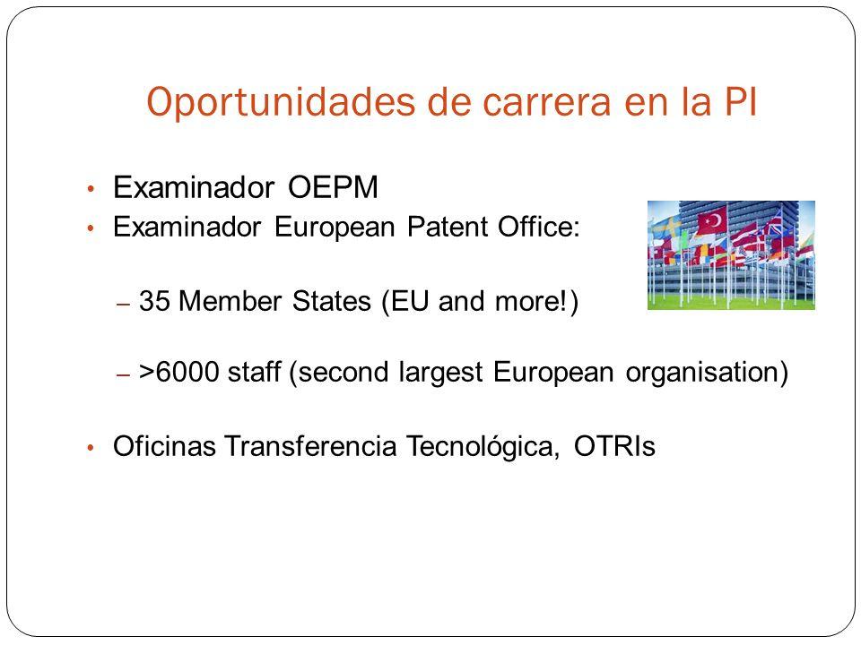 Oportunidades de carrera en la PI Examinador OEPM Examinador European Patent Office: – 35 Member States (EU and more!) – >6000 staff (second largest European organisation) Oficinas Transferencia Tecnológica, OTRIs