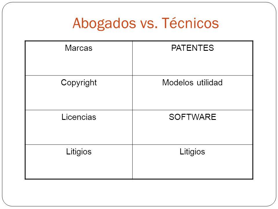 Abogados vs. Técnicos MarcasPATENTES CopyrightModelos utilidad LicenciasSOFTWARE Litigios