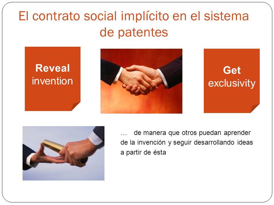 El contrato social implícito en el sistema de patentes Reveal invention Get exclusivity …de manera que otros puedan aprender de la invención y seguir desarrollando ideas a partir de ésta