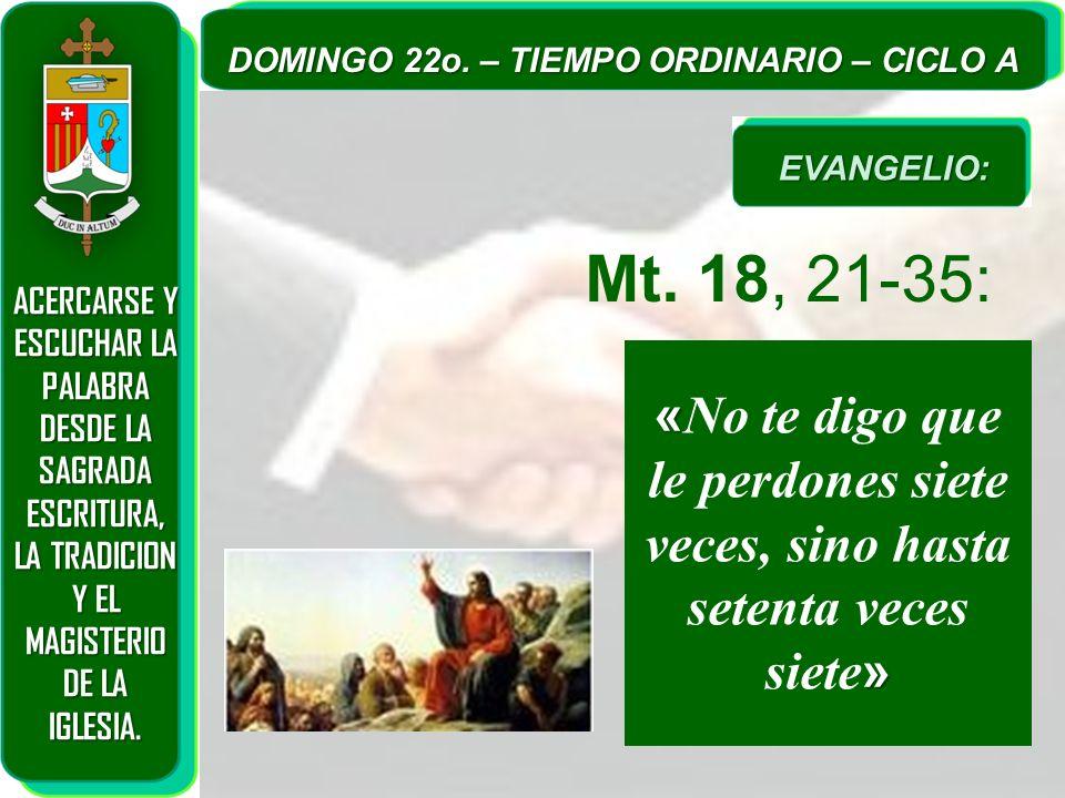 ACERCARSE Y ESCUCHAR LA PALABRA DESDE LA SAGRADA ESCRITURA, LA TRADICION Y EL MAGISTERIO DE LA IGLESIA. DOMINGO 22o. – TIEMPO ORDINARIO – CICLO A Mt.