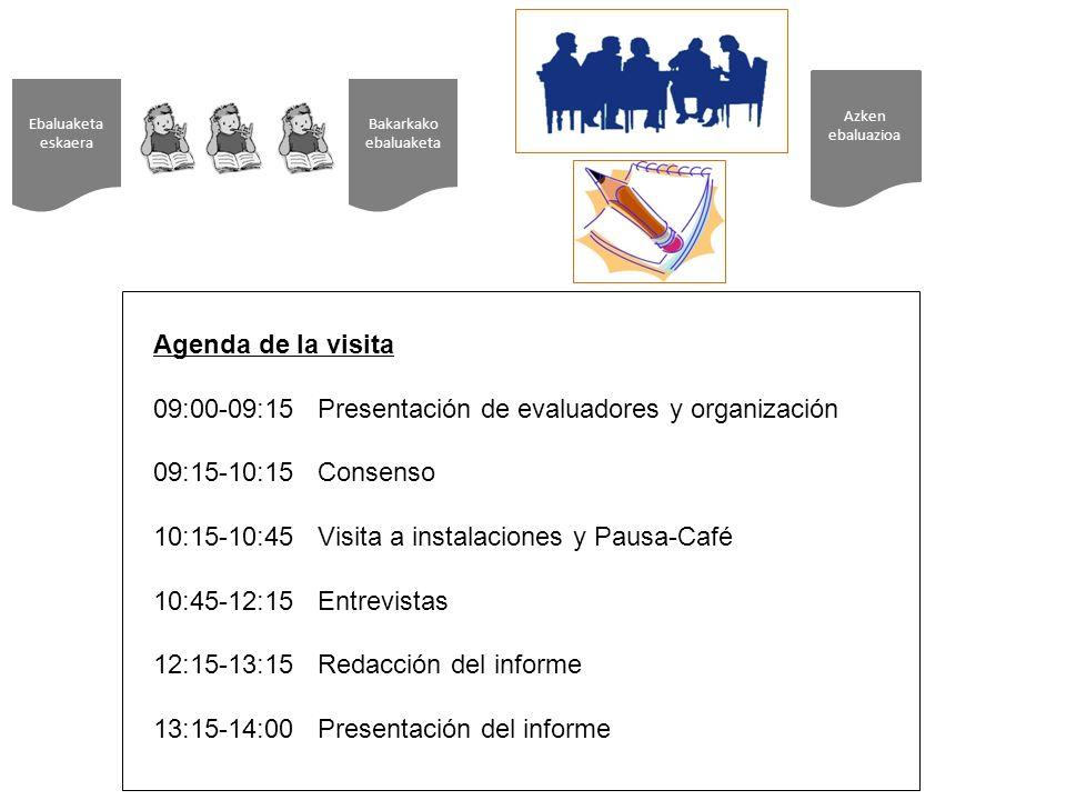 Ebaluaketa eskaera Azken ebaluazioa Bakarkako ebaluaketa Agenda de la visita 09:00-09:15 Presentación de evaluadores y organización 09:15-10:15 Consenso 10:15-10:45 Visita a instalaciones y Pausa-Café 10:45-12:15 Entrevistas 12:15-13:15 Redacción del informe 13:15-14:00 Presentación del informe