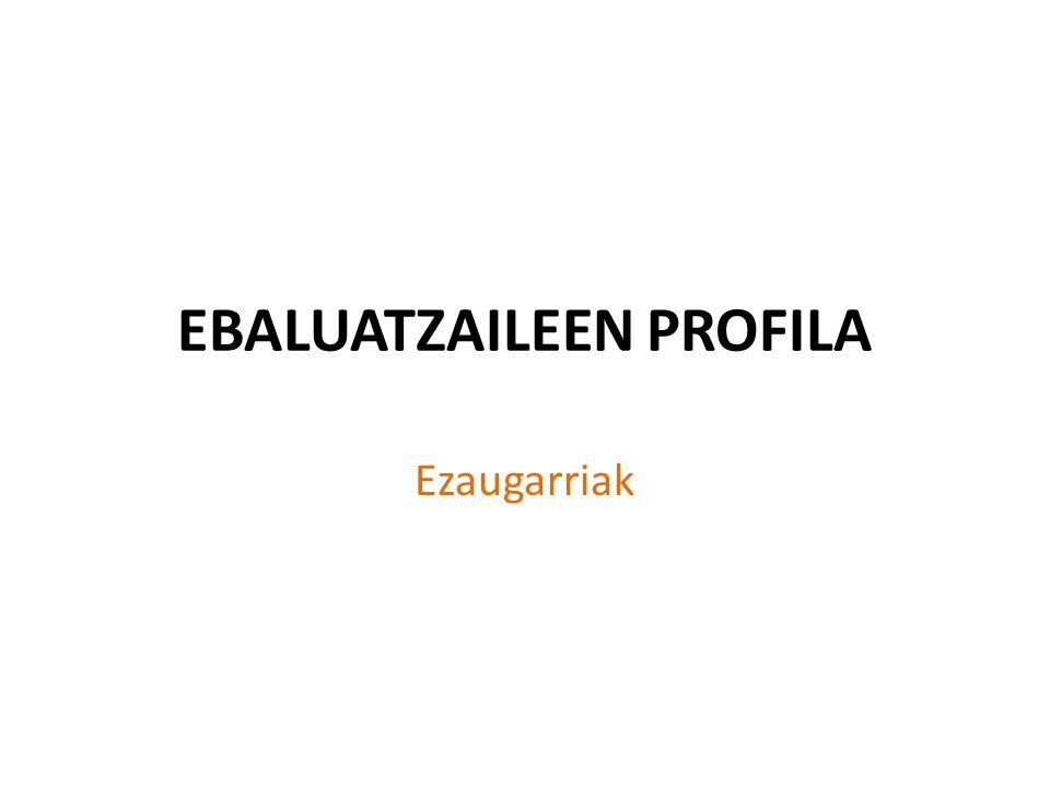 EBALUATZAILEEN PROFILA Ezaugarriak