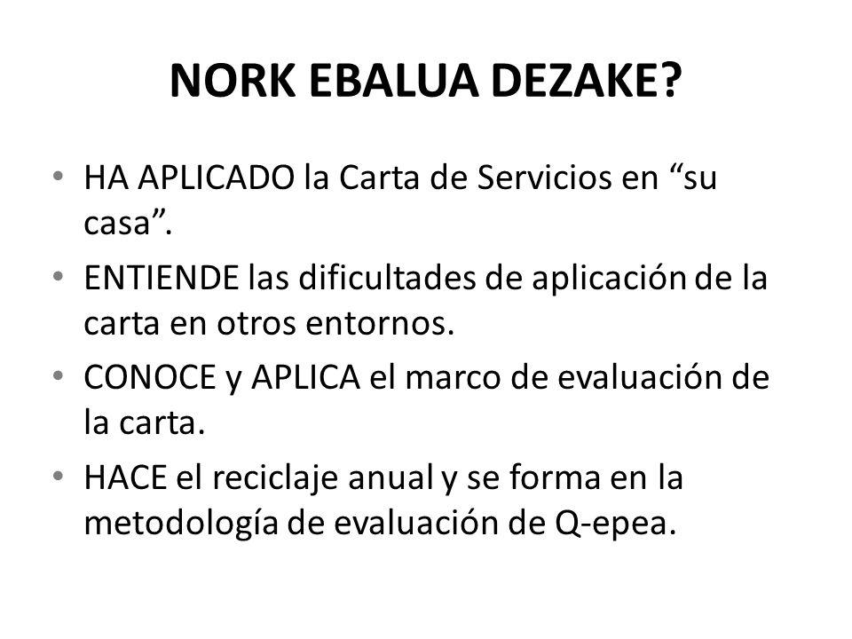 NORK EBALUA DEZAKE? HA APLICADO la Carta de Servicios en su casa. ENTIENDE las dificultades de aplicación de la carta en otros entornos. CONOCE y APLI