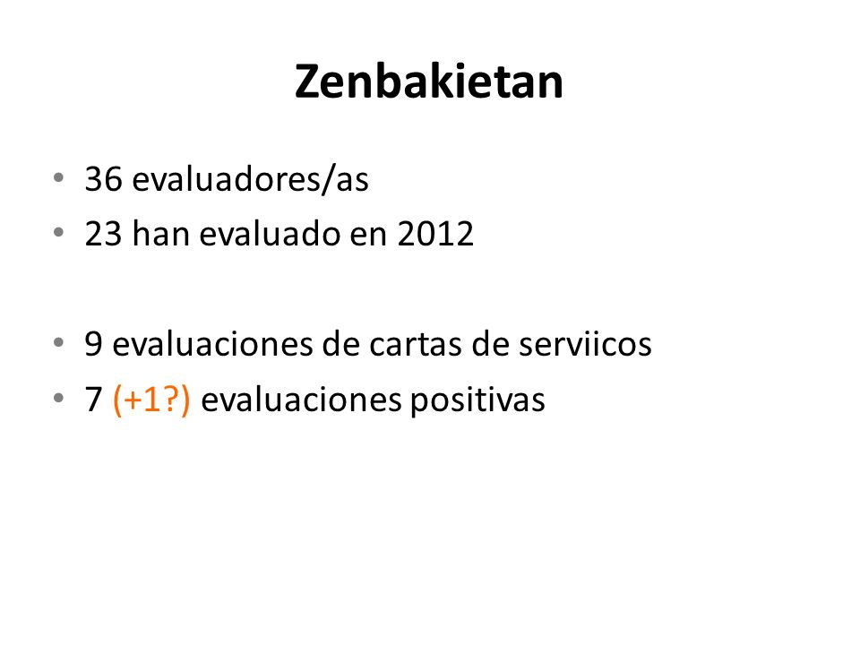 Zenbakietan 36 evaluadores/as 23 han evaluado en 2012 9 evaluaciones de cartas de serviicos 7 (+1?) evaluaciones positivas