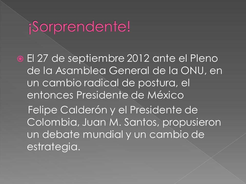 El 27 de septiembre 2012 ante el Pleno de la Asamblea General de la ONU, en un cambio radical de postura, el entonces Presidente de México Felipe Cald