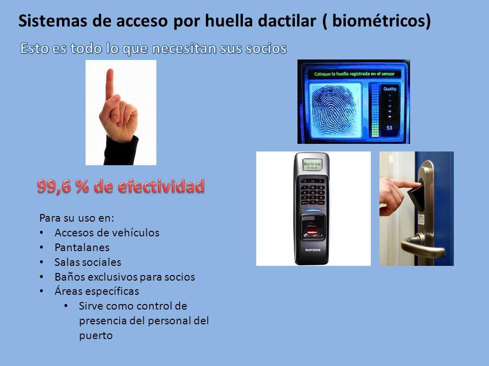 Sistemas de acceso por huella dactilar ( biométricos) Para su uso en: Accesos de vehículos Pantalanes Salas sociales Baños exclusivos para socios Áreas específicas Sirve como control de presencia del personal del puerto