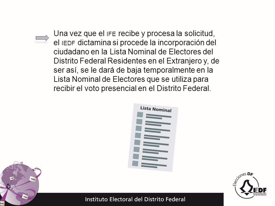 Una vez que el IFE recibe y procesa la solicitud, el IEDF dictamina si procede la incorporación del ciudadano en la Lista Nominal de Electores del Dis