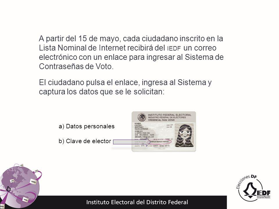 El ciudadano pulsa el enlace, ingresa al Sistema y captura los datos que se le solicitan: a) Datos personales b) Clave de elector A partir del 15 de m