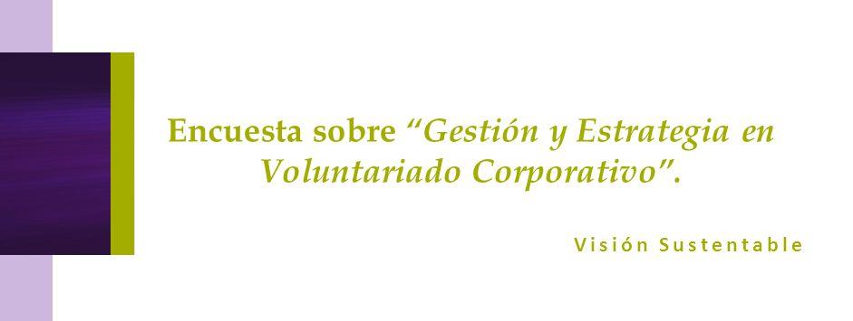 Encuesta sobre Gestión y Estrategia en Voluntariado Corporativo. Visión Sustentable