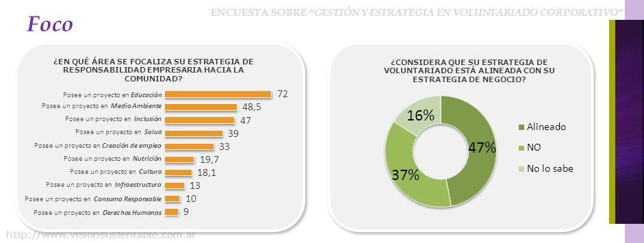 ENCUESTA SOBRE GESTIÓN Y ESTRATEGIA EN VOLUNTARIADO CORPORATIVO http://www.visionsustentable.com.ar Foco ¿EN QUÉ ÁREA SE FOCALIZA SU ESTRATEGIA DE RESPONSABILIDAD EMPRESARIA HACIA LA COMUNIDAD.