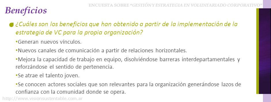 ENCUESTA SOBRE GESTIÓN Y ESTRATEGIA EN VOLUNTARIADO CORPORATIVO http://www.visionsustentable.com.ar Beneficios ¿Cuáles son los beneficios que han obtenido a partir de la implementación de la estrategia de VC para la propia organización.