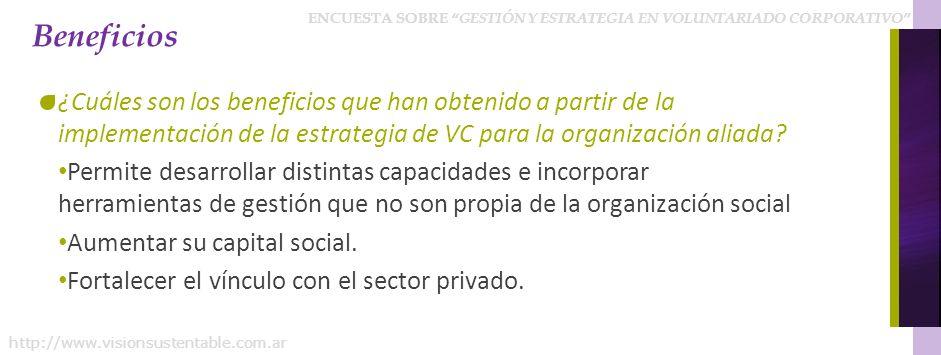 ENCUESTA SOBRE GESTIÓN Y ESTRATEGIA EN VOLUNTARIADO CORPORATIVO http://www.visionsustentable.com.ar Beneficios ¿Cuáles son los beneficios que han obtenido a partir de la implementación de la estrategia de VC para la organización aliada.