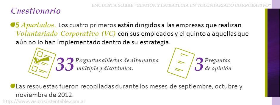 ENCUESTA SOBRE GESTIÓN Y ESTRATEGIA EN VOLUNTARIADO CORPORATIVO http://www.visionsustentable.com.ar Cuestionario Preguntas abiertas de alternativa múl