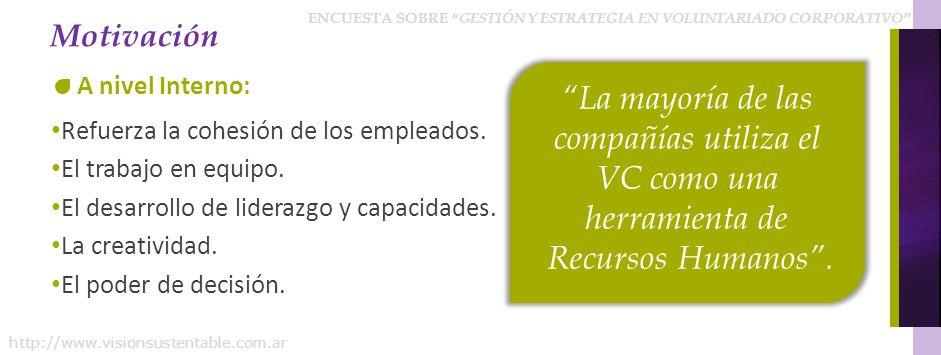 ENCUESTA SOBRE GESTIÓN Y ESTRATEGIA EN VOLUNTARIADO CORPORATIVO http://www.visionsustentable.com.ar ¿QUÉ JERARQUÍA TIENEN LA PERSONA QUE LLEVA ADELANTE LA ESTRATEGIA DE VC.