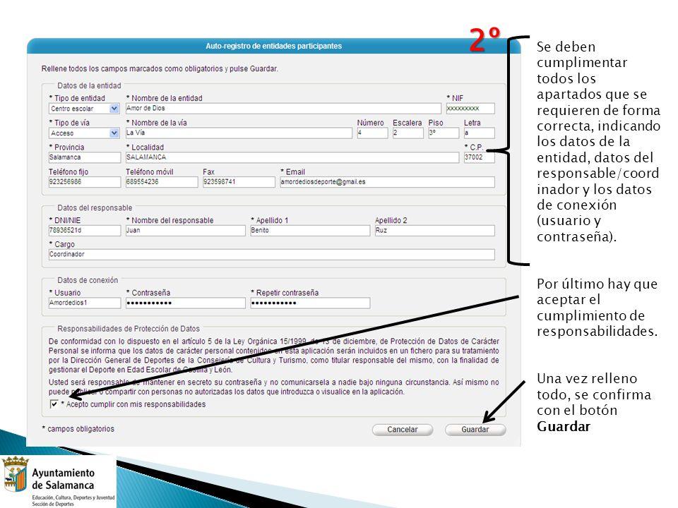 1)Una vez autorregistrado, hay que entrar con el usuario y contraseña dado anteriormente.