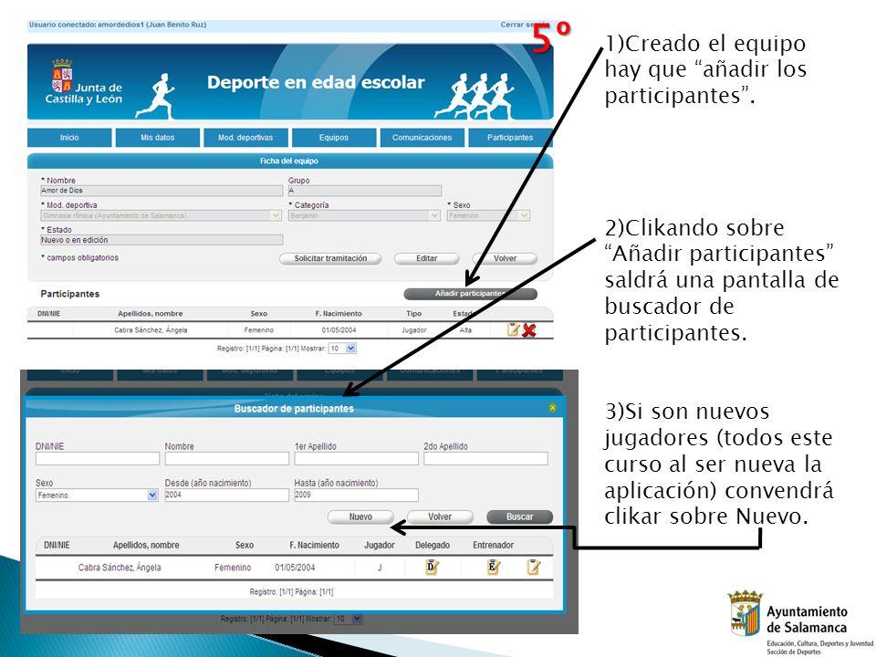 1)Creado el equipo hay que añadir los participantes. 2)Clikando sobre Añadir participantes saldrá una pantalla de buscador de participantes. 3)Si son