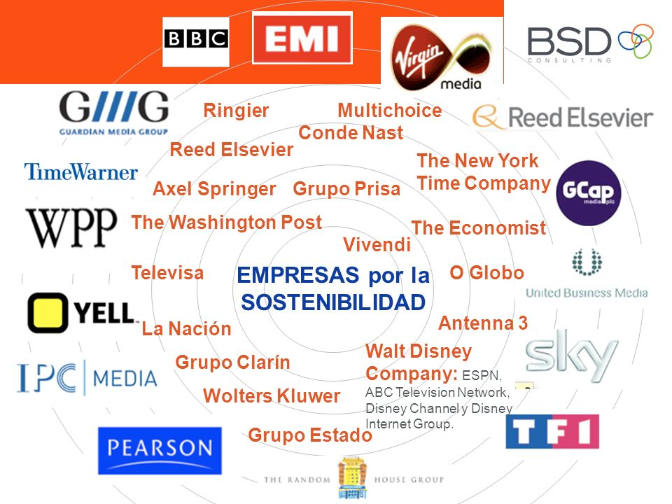 EMPRESAS por la SOSTENIBILIDAD Ringier Axel Springer Conde Nast The New York Time Company The Washington Post The Economist Televisa La Nación Grupo Clarín Grupo Estado O Globo Antenna 3 Walt Disney Company: ESPN, ABC Television Network, Disney Channel y Disney Internet Group.