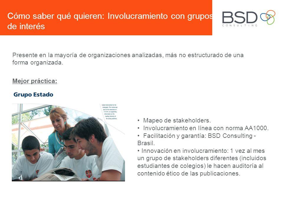 Cómo saber qué quieren: Involucramiento con grupos de interés Mapeo de stakeholders. Involucramiento en línea con norma AA1000. Facilitación y garantí