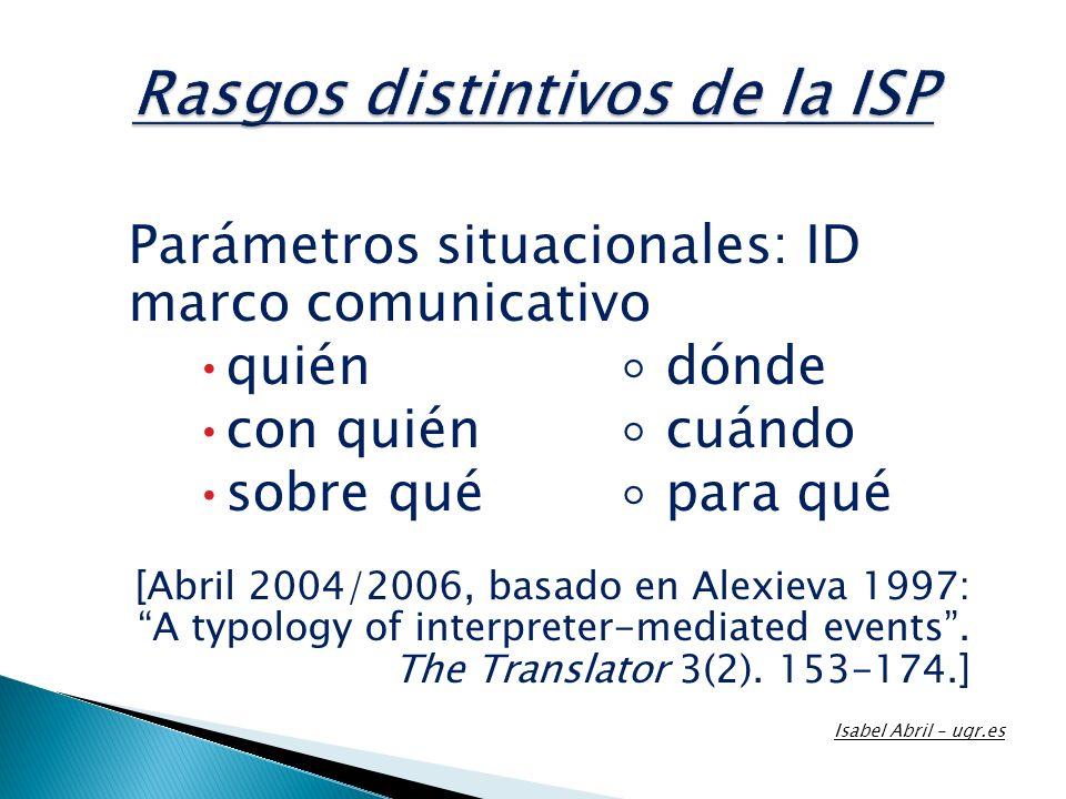 Parámetros situacionales: ID marco comunicativo quién dónde con quién cuándo sobre qué para qué [Abril 2004/2006, basado en Alexieva 1997: A typology