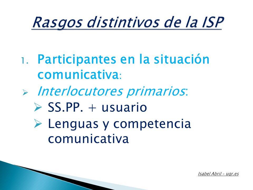 1. Participantes en la situación comunicativa : Interlocutores primarios: SS.PP. + usuario Lenguas y competencia comunicativa Isabel Abril – ugr.es