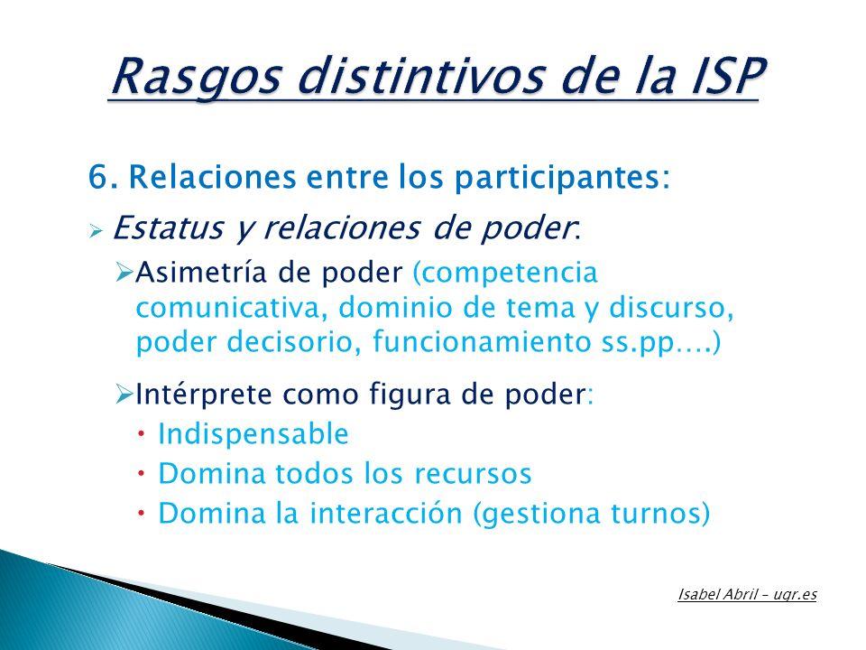 6. Relaciones entre los participantes: Estatus y relaciones de poder: Asimetría de poder (competencia comunicativa, dominio de tema y discurso, poder