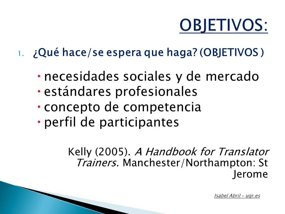 1. ¿Qué hace/se espera que haga? (OBJETIVOS ) necesidades sociales y de mercado estándares profesionales concepto de competencia perfil de participant