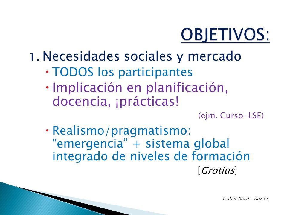 1. Necesidades sociales y mercado TODOS los participantes Implicación en planificación, docencia, ¡prácticas! (ejm. Curso-LSE) Realismo/pragmatismo: e