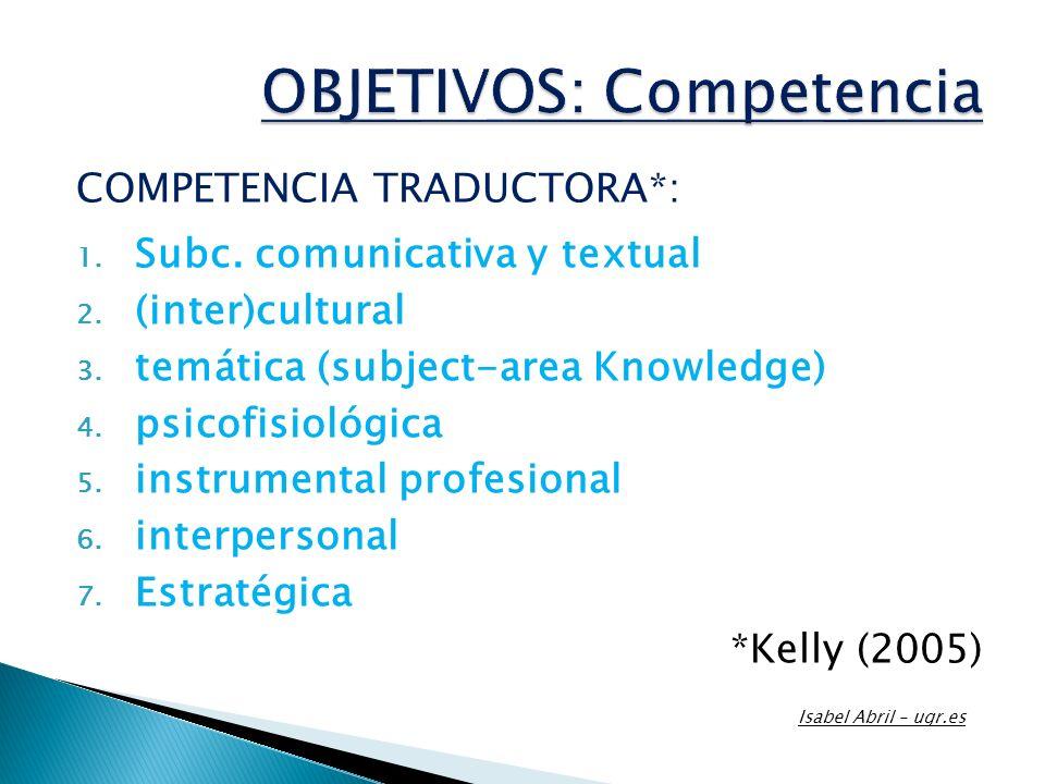 COMPETENCIA TRADUCTORA*: 1. Subc. comunicativa y textual 2. (inter)cultural 3. temática (subject-area Knowledge) 4. psicofisiológica 5. instrumental p
