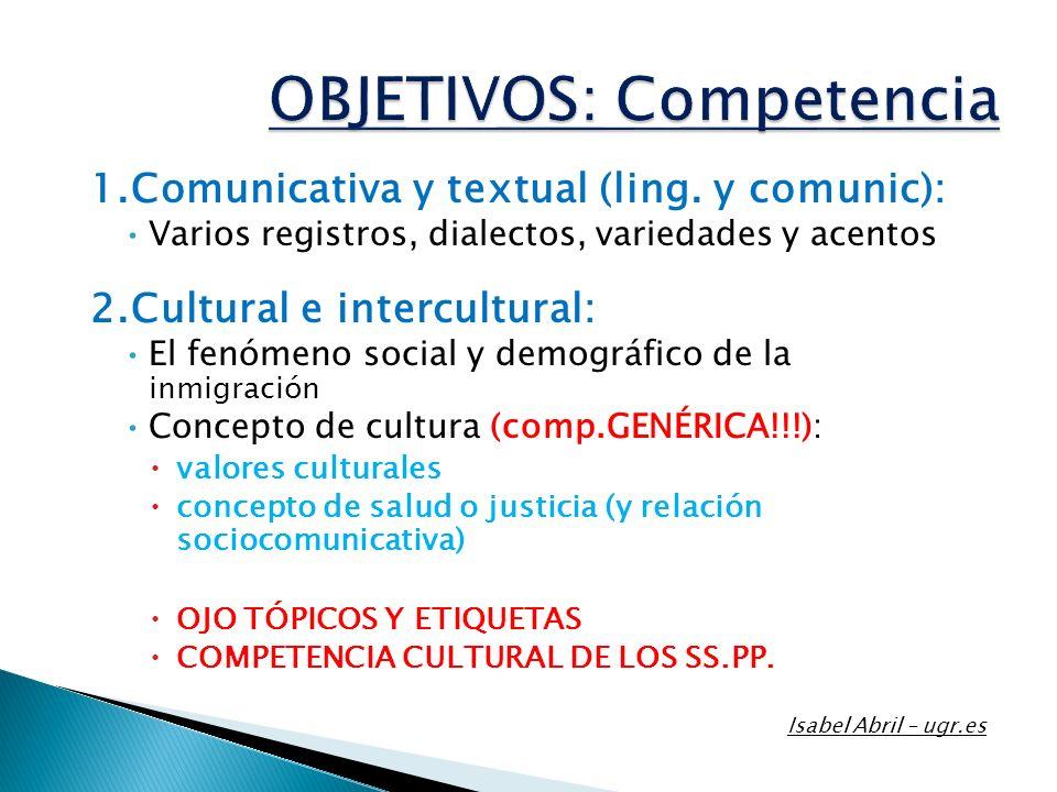 1.Comunicativa y textual (ling. y comunic): Varios registros, dialectos, variedades y acentos 2.Cultural e intercultural: El fenómeno social y demográ