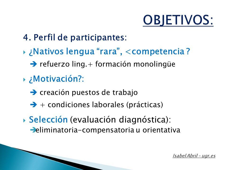 4. Perfil de participantes: ¿Nativos lengua rara, <competencia ? refuerzo ling.+ formación monolingüe ¿Motivación?: creación puestos de trabajo + cond
