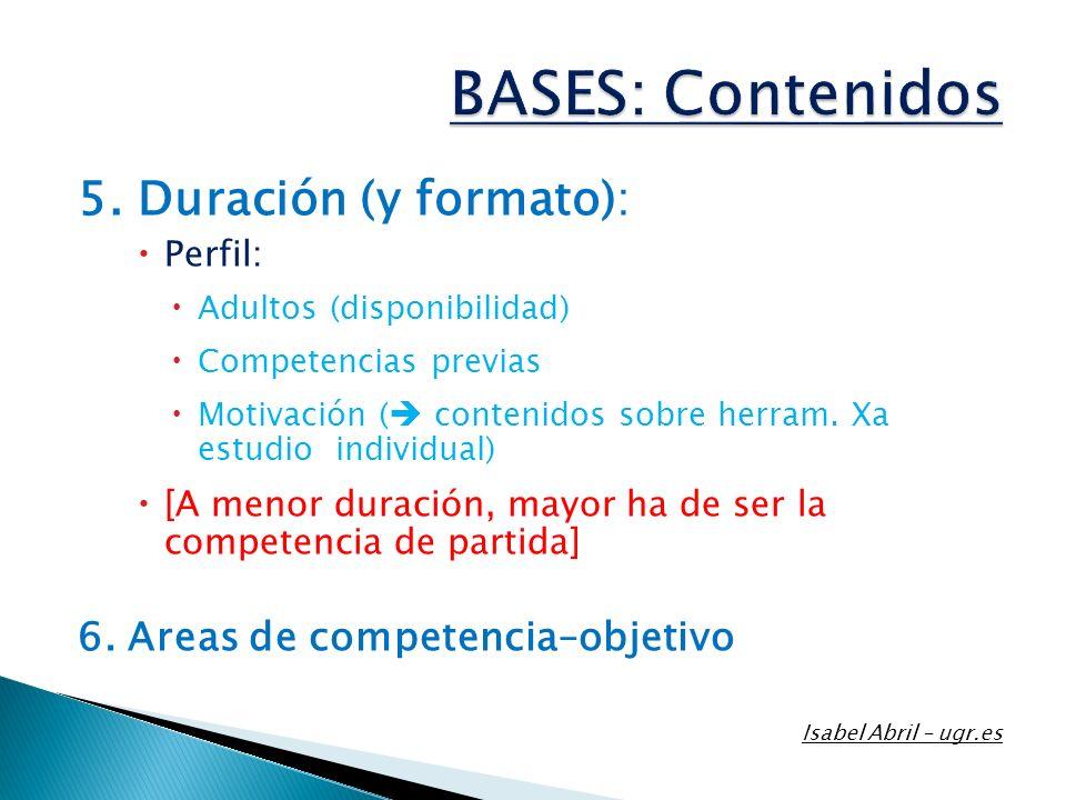 5. Duración (y formato): Perfil: Adultos (disponibilidad) Competencias previas Motivación ( contenidos sobre herram. Xa estudio individual) [A menor d