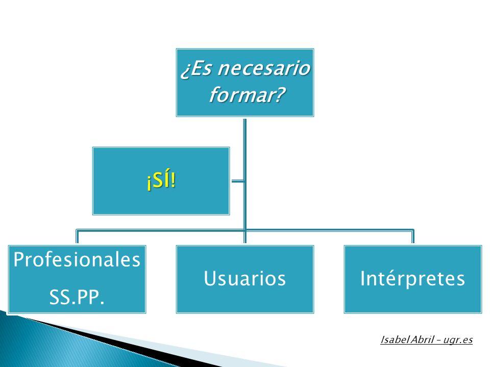 ¿Es necesario formar? Profesionales SS.PP. UsuariosIntérpretes ¡SÍ! Isabel Abril – ugr.es