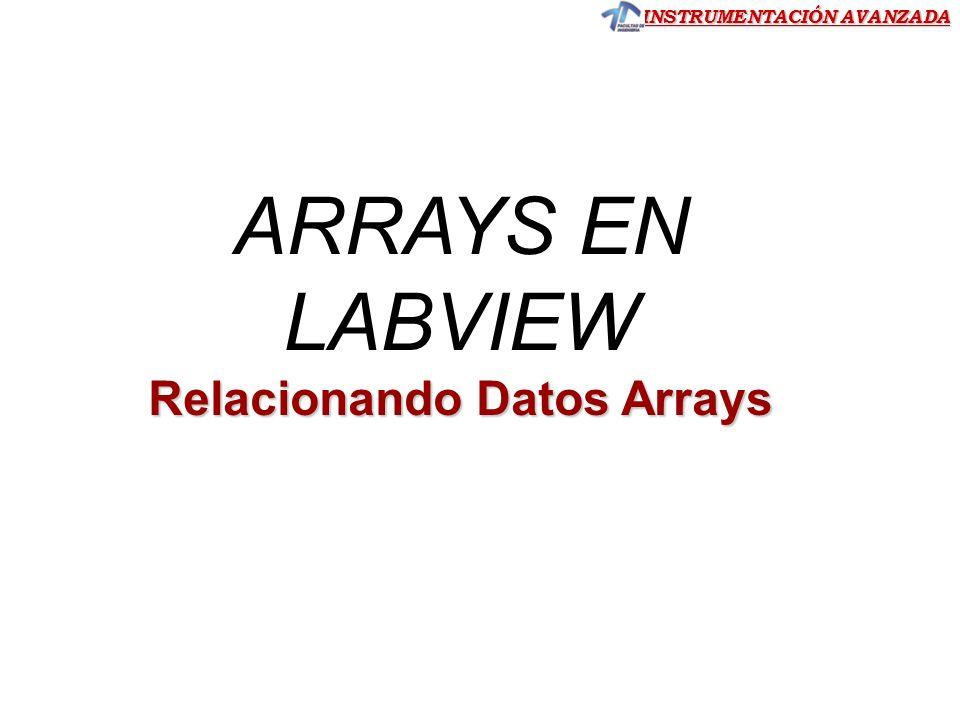 INSTRUMENTACIÓN AVANZADA Trabajando con arrays usando funciones de LabVIEW Dimensión de un Array Ejercicio 11 Ejercicio 11