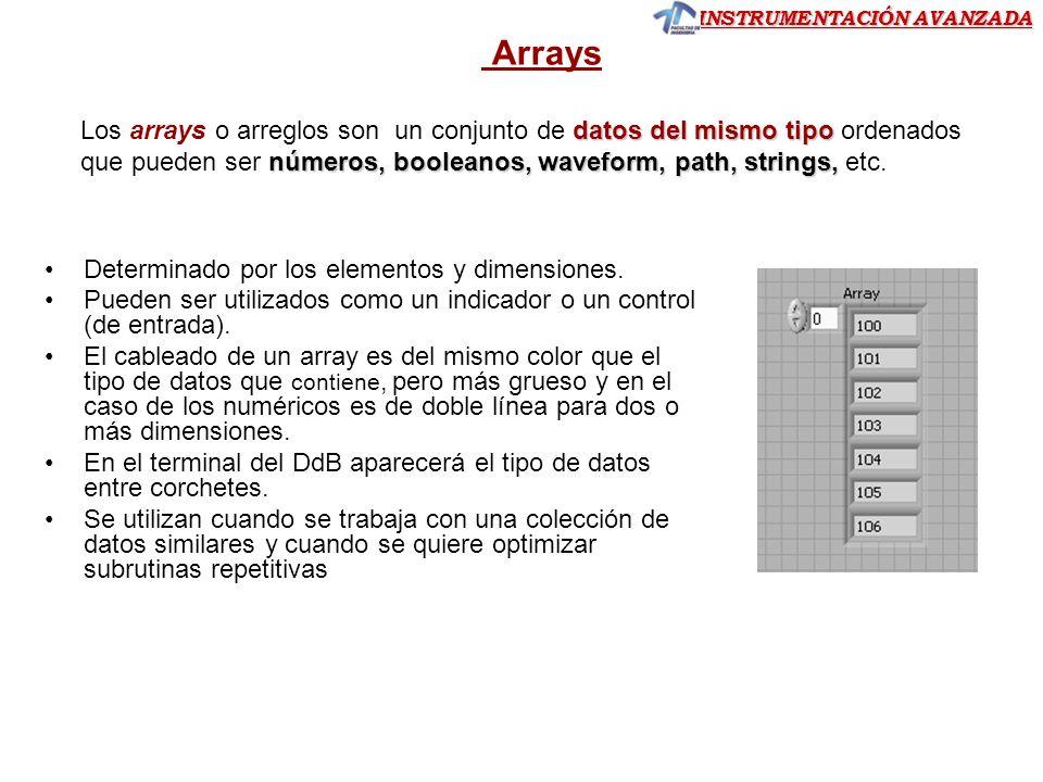 INSTRUMENTACIÓN AVANZADA Ejercicio 7.- Del array 1D de seis números reales como muestra la figura siguiente: Ejercicio 7 Se pide mostrar en el panel frontal a partir de un control numérico el valor de cada celda: