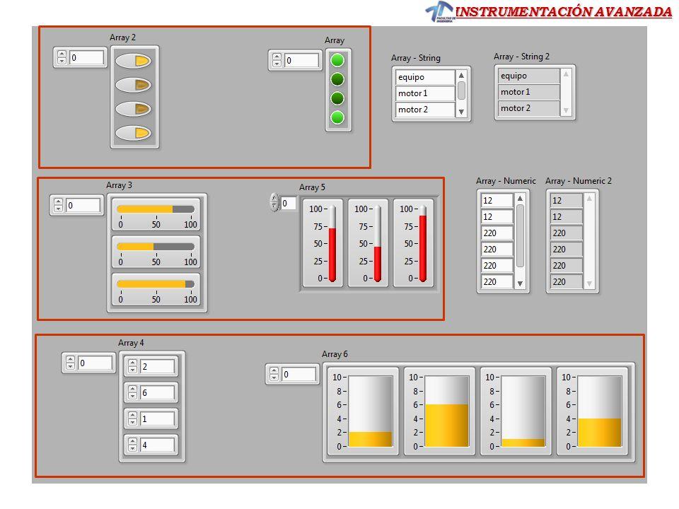 INSTRUMENTACIÓN AVANZADA Ejercicio 8 Ejercicio 8.- Construir un VI a partir de un array 2D: cuyo panel frontal muestre después de ejecutar la aplicación los siguientes datos: