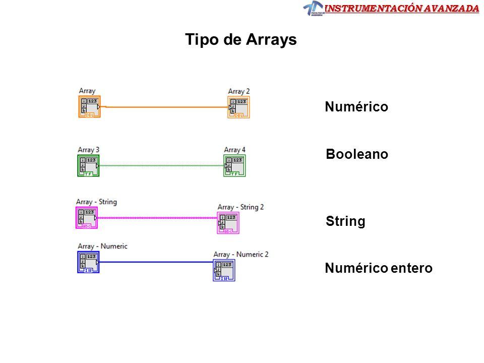 INSTRUMENTACIÓN AVANZADA Trabajando con arrays usando funciones de LabVIEW Array Index (elemento de un Array 2D) Ejercicio 8