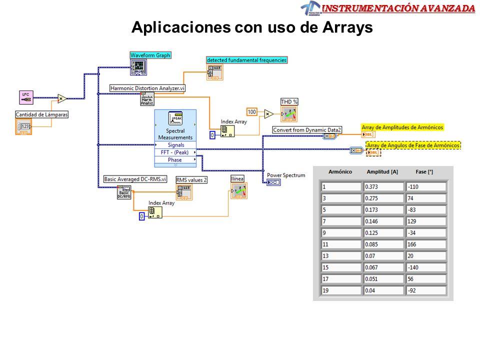 INSTRUMENTACIÓN AVANZADA Arrays – Auto-indexado For Loop o While Loop, cada iteración puede volcar información como un elemento del array habilitando autoindexado sobre el túnel.