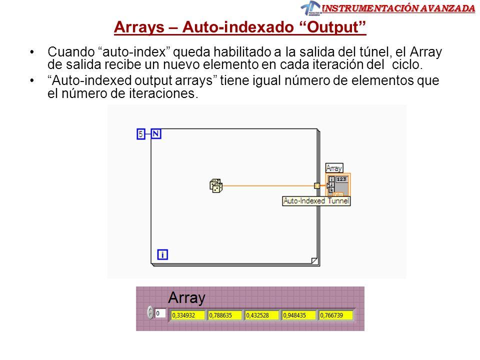 INSTRUMENTACIÓN AVANZADA Arrays- Creación Array Para crear un Array vamos al PF y con clic derecho con el mouse seleccionamos Array desde Array,Matrix & Clusters Ejemplo