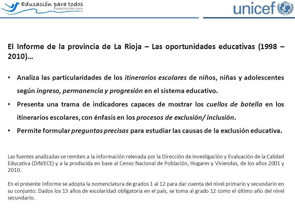 El Informe de la provincia de La Rioja – Las oportunidades educativas (1998 – 2010)… Analiza las particularidades de los itinerarios escolares de niños, niñas y adolescentes según ingreso, permanencia y progresión en el sistema educativo.