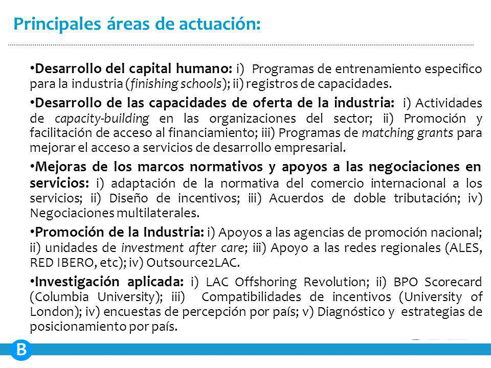 Desarrollo del capital humano: i) Programas de entrenamiento especifico para la industria (finishing schools); ii) registros de capacidades.