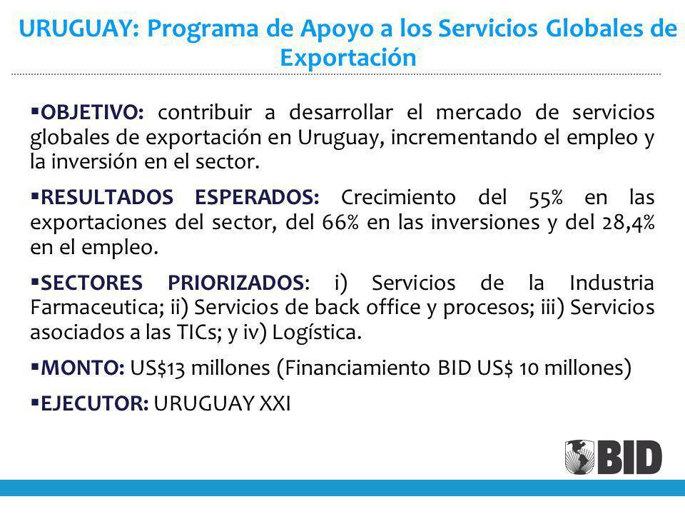 OBJETIVO: contribuir a desarrollar el mercado de servicios globales de exportación en Uruguay, incrementando el empleo y la inversión en el sector.