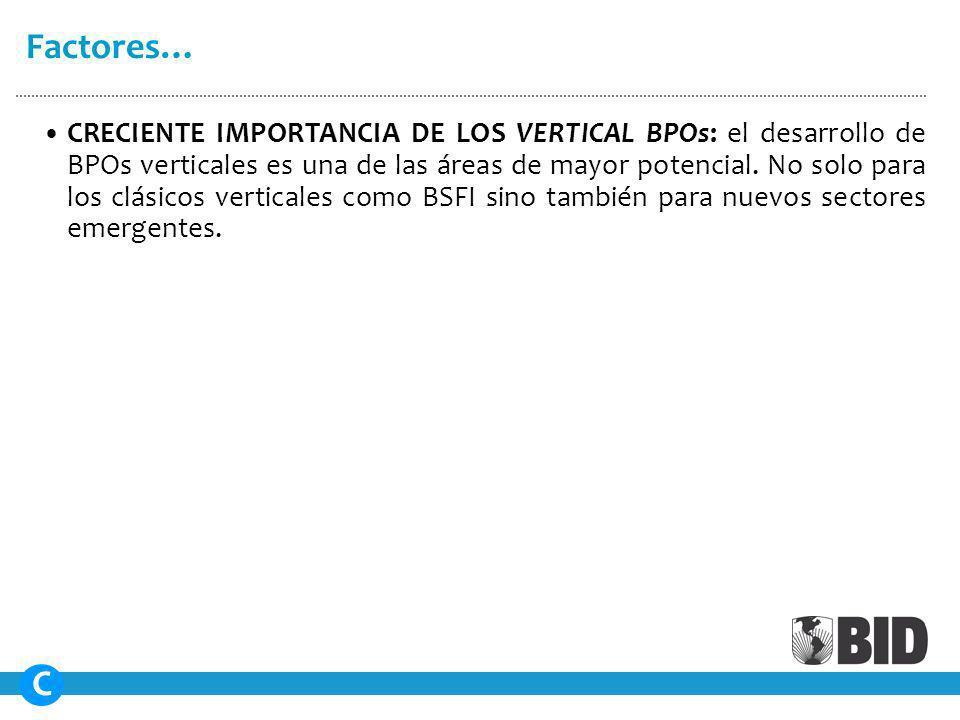 CRECIENTE IMPORTANCIA DE LOS VERTICAL BPOs: el desarrollo de BPOs verticales es una de las áreas de mayor potencial.