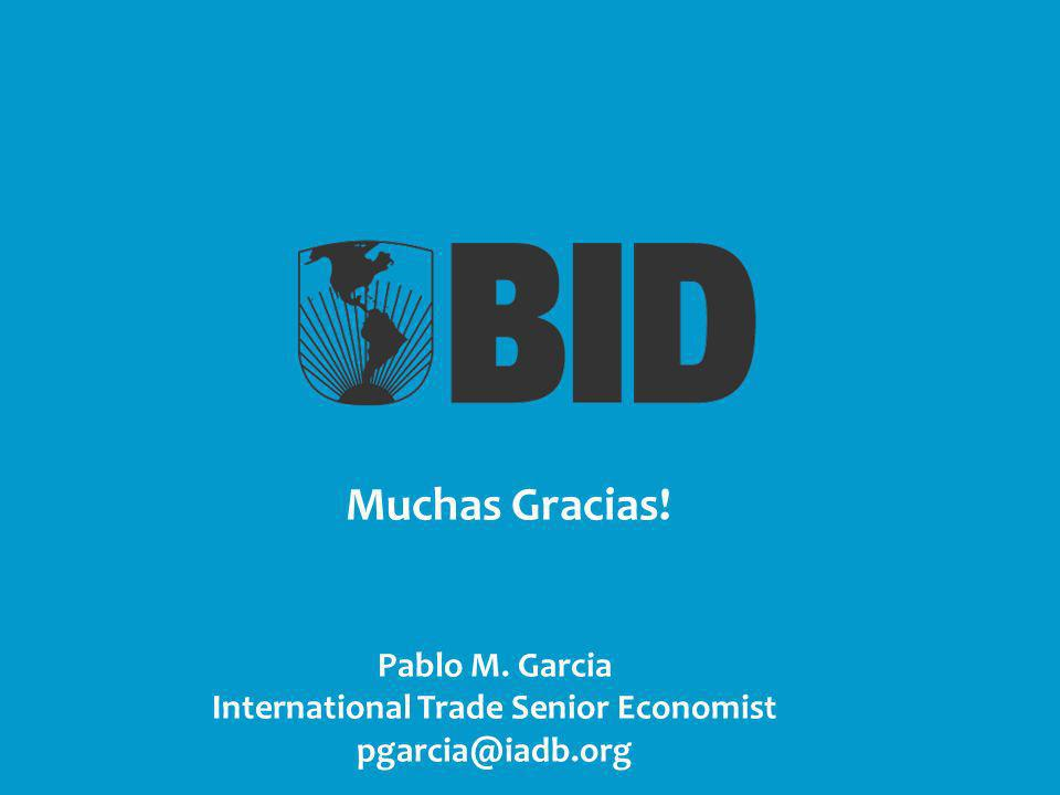 Pablo M. Garcia International Trade Senior Economist pgarcia@iadb.org Muchas Gracias!