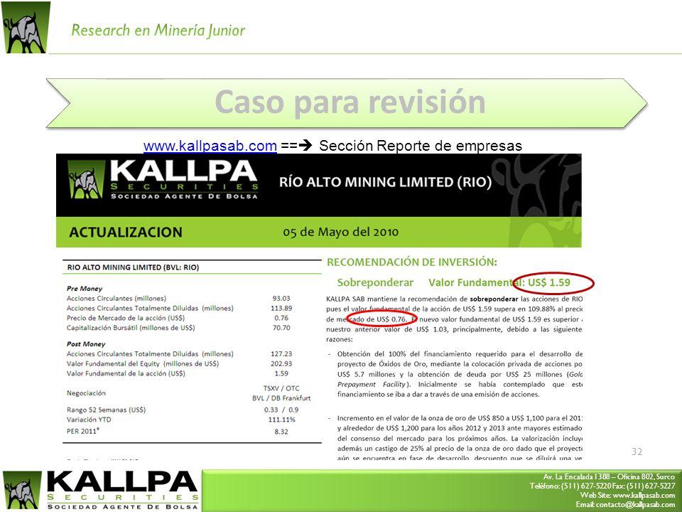 Av. La Encalada 1388 – Oficina 802, Surco Teléfono: (511) 627-5220 Fax: (511) 627-5227 Web Site: www.kallpasab.com Email: contacto@kallpasab.com Av. L