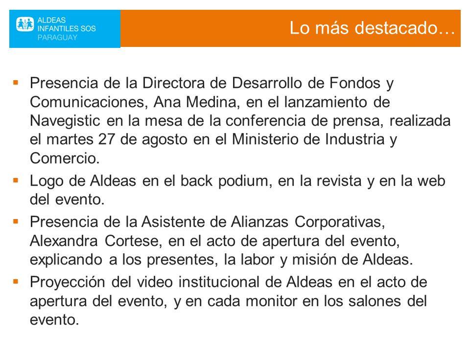 Lo más destacado… Presencia de la Directora de Desarrollo de Fondos y Comunicaciones, Ana Medina, en el lanzamiento de Navegistic en la mesa de la con