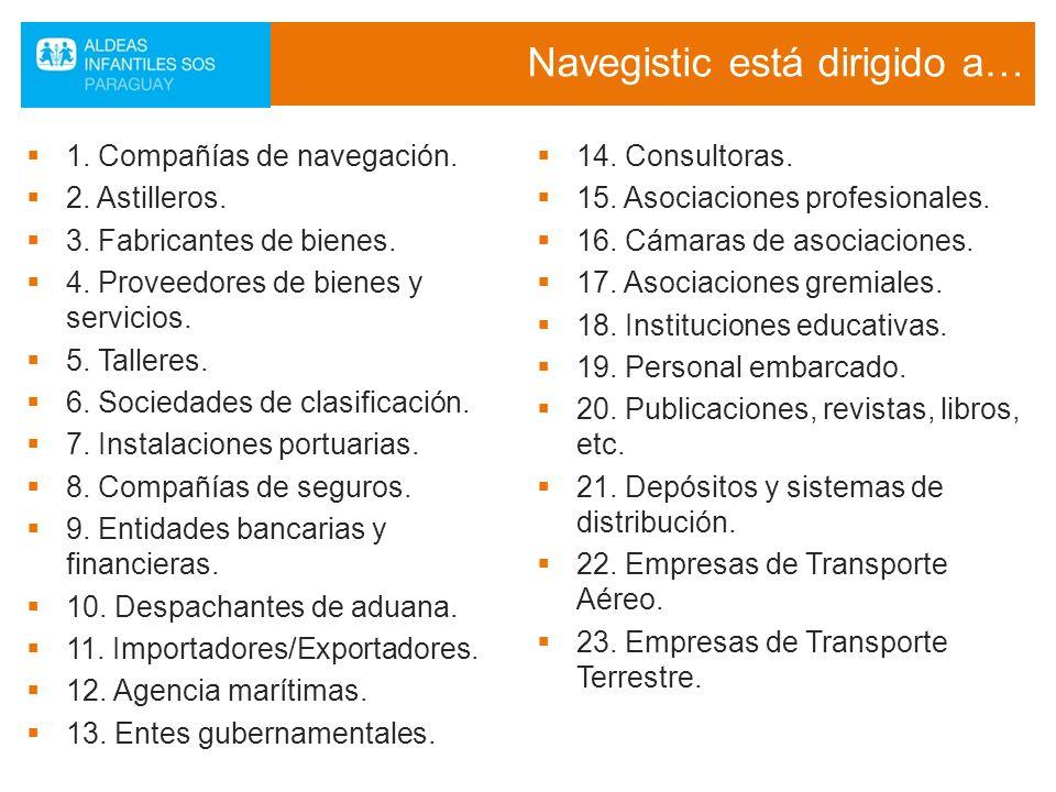 Navegistic está dirigido a… 1. Compañías de navegación. 2. Astilleros. 3. Fabricantes de bienes. 4. Proveedores de bienes y servicios. 5. Talleres. 6.