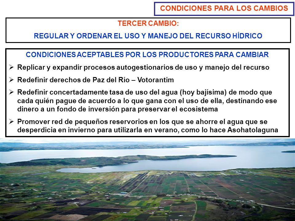 TERCER CAMBIO: REGULAR Y ORDENAR EL USO Y MANEJO DEL RECURSO HÍDRICO CONDICIONES PARA LOS CAMBIOS CONDICIONES ACEPTABLES POR LOS PRODUCTORES PARA CAMB