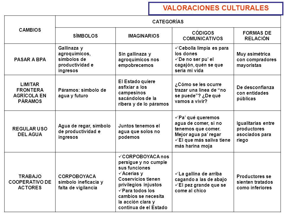 VALORACIONES CULTURALES CAMBIOS CATEGORÍAS SÍMBOLOSIMAGINARIOS CÓDIGOS COMUNICATIVOS FORMAS DE RELACIÓN PASAR A BPA Gallinaza y agroquímicos, símbolos